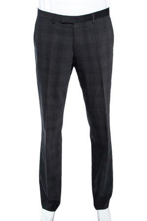 Boss By Hugo Boss Charcoal Grey Check Patterned Wool Sharp2 Pants L