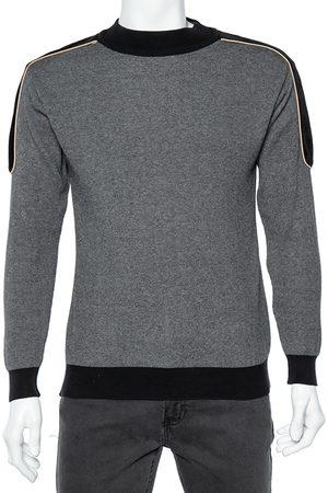 Balmain Grey Wool Knit Contrast Velvet Trim Sweater S