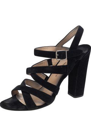 PAUL ANDREW Women Heeled Sandals - Suede Ankle Strap Block Heel Sandals Size 41