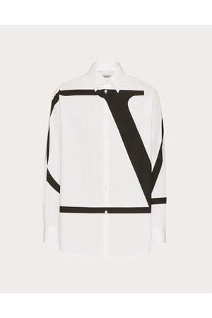 VALENTINO UOMO Men Shirts - Cotton Shirt With Vlogo Signature Print Man / 100% Cotton 37