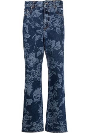 MSGM Floral-print flared jeans