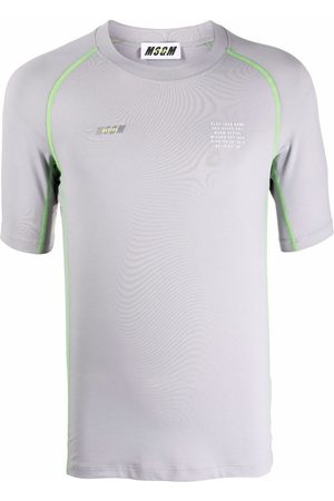 MSGM Graphic-print contrast-stitching T-Shirt - Grey