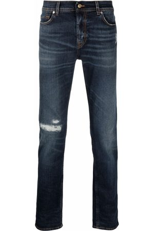 7 for all Mankind Men Straight - Ripped-detail jeans