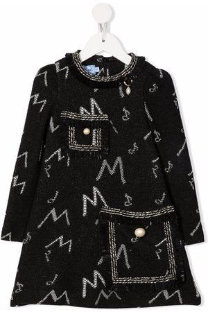 Mi Mi Sol Girls Knitted Dresses - Monogram-pattern knitted dress