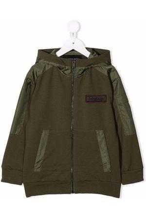 DONDUP KIDS Bomber Jackets - TEEN logo-patch hooded jacket