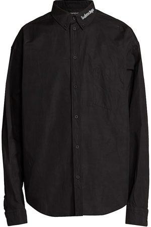 Balenciaga Logo Collar Long-Sleeve Button-Down Shirt