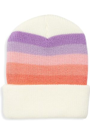 Tiny Whales Girl's Striped Knit Beanie Hat