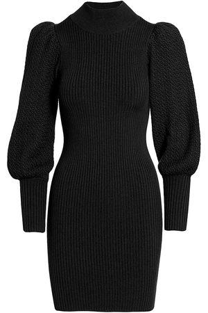 ALICE+OLIVIA Caleb Wool Puff-Sleeve Sweaterdress