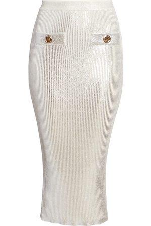 Balmain Metallic-Coated Skirt