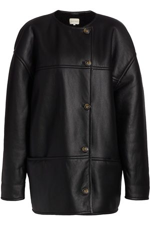 Loulou Studio Dyed Shearling & Leather Coat