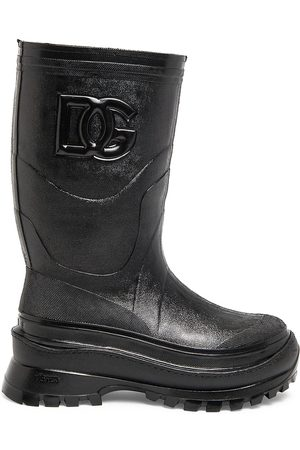 Dolce & Gabbana DG-Embossed Metallic Rubber Boots