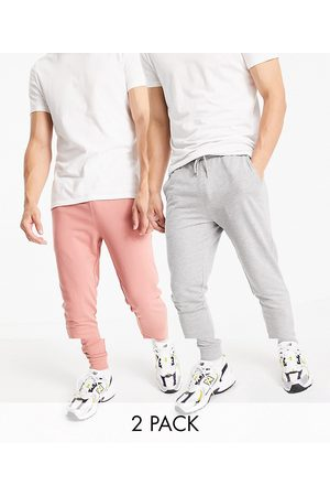 ASOS Organic lightweight skinny sweatpants 2 pack in pink and gray heather-Multi