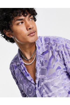 ASOS Relaxed revere shirt in animal skin velvet burnout