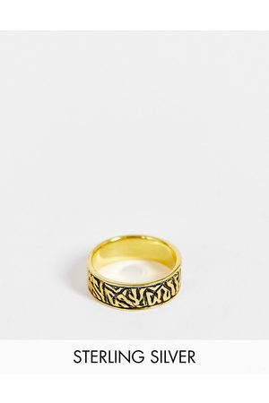 ASOS Sterling silver band ring with wave design in burnished tone