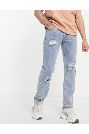 Liquor N Poker Coordinating straight leg jeans in vintage light wash denim with distressing-Blues