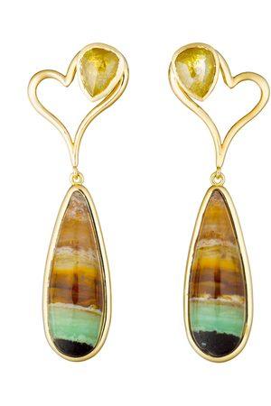 Guita M Petrified Opal and Yellow Diamond Earrings