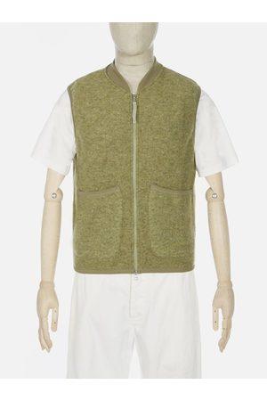 Universal Works Men Fleece Jackets - Wool Fleece Zip Waistcoat in Light Olive