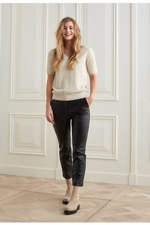 YaYa Faux leather trousers with a high waist in 7/8 length
