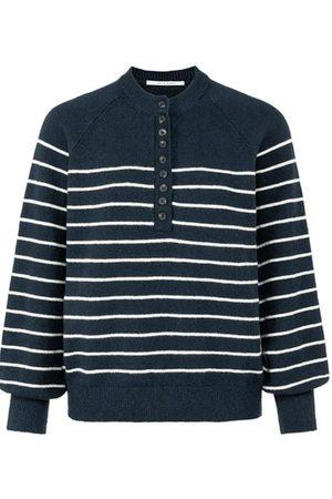 YAYA Carbon Striped Button Knit