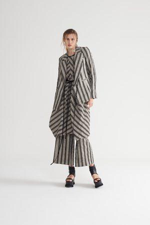 Symetria Women Blazers - Sequel Wrap Jacket - Pumice/Black Stripe