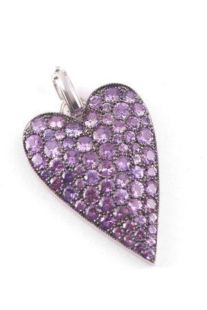 Sylva & Cie Women Necklaces - Purple Sapphire Heart Pendant