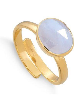 SVP JEWELLERY SVP Atomic Midi Lace Agate Gold Vermeil Adjustable Ring
