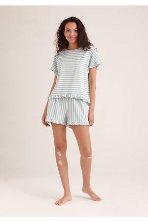 Paisie Women Pajamas - Striped Pyjama Top and Shorts Set