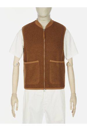 Universal Works Wool Fleece Zip Waistcoat in Rust