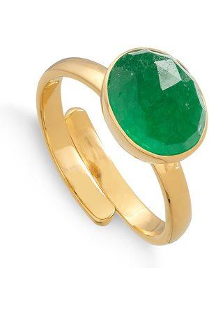 SVP JEWELLERY SVP Atomic Midi Emerald Quartz Vermeil Adjustable Ring