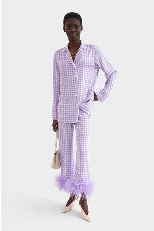 Sleeper Party Pajama Set With Feathers - Lavender