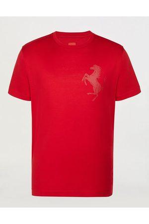 FERRARI Men Short Sleeve - Men's cotton jersey T-shirt with Prancing Horse