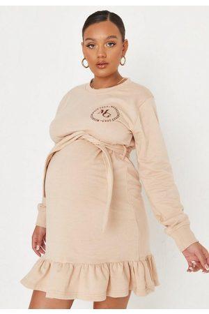 Missguided Sand Frill Belt Maternity Sweater Mini Dress