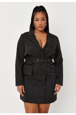 Missguided Plus Size Pinstripe Belted Blazer Dress