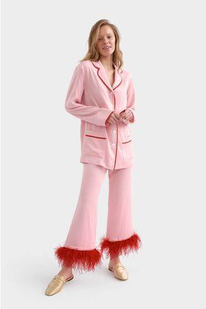 Women Pajamas - Sleeper Party Pajama Set With Feathers