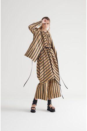 Symetria Women Blazers - Sequel Wrap Jacket - Sandstone Stripe