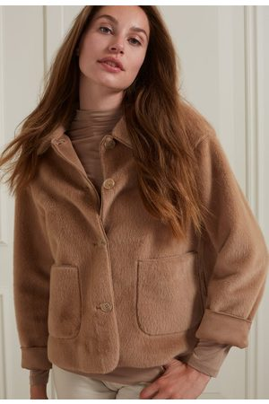 YAYA Short faux fur jacket with button closure