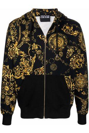 VERSACE Gold Baroque Print Zipped Hoodie