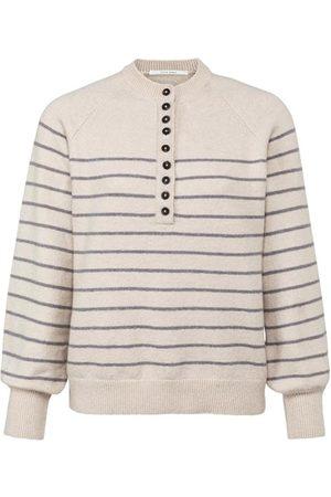YAYA French Oak Striped Button Knit