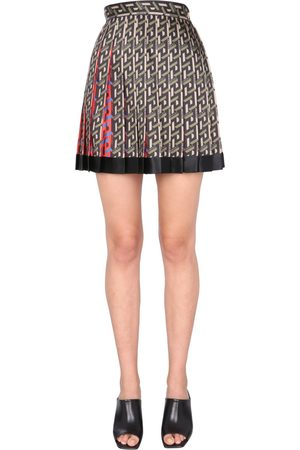 VERSACE PLEATED SKIRT WITH GREEK PRINT