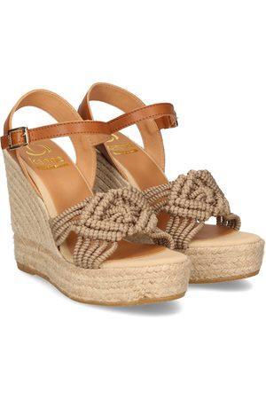 Kanna Women Wedge Sandals - MACRAME High Wedge Espadrille Taupe