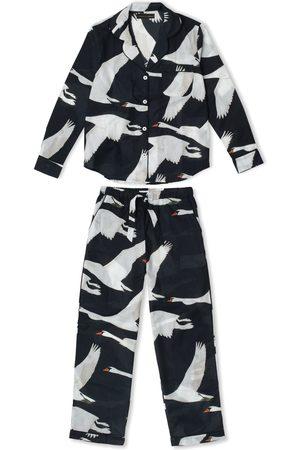 Desmond & Dempsey Long Pyjama Set Cygnus Swan Black