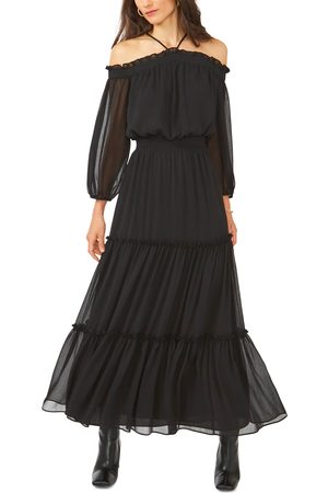 1.STATE Women's Halter Long Sleeve Maxi Dress