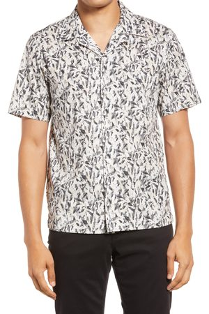 Theory Men's Noll Prism Short Sleeve Stretch Cotton Button-Up Camp Shirt