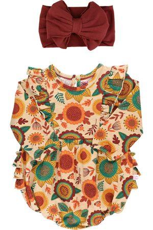 RuffleButts Infant Girl's Autumn Bliss Bubble Romper & Headband Set