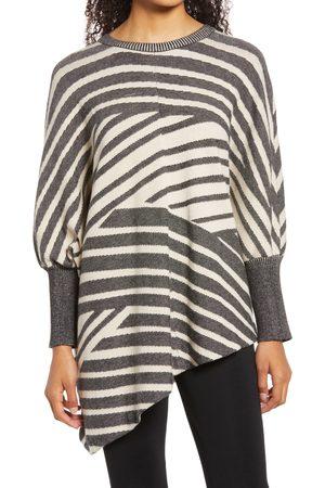 Ming Wang Women's Stripe Asymmetric Cozy Tunic Sweater
