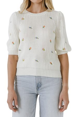 ENGLISH FACTORY Women's Floral Embroidery Sweater