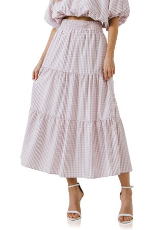 English Factory Women's Tiered Gingham Maxi Skirt