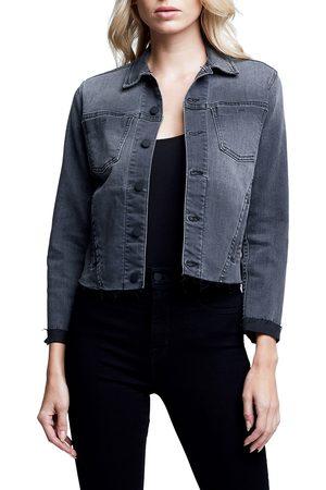 L'AGENCE Women's Janelle Slim Raw Hem Crop Denim Jacket