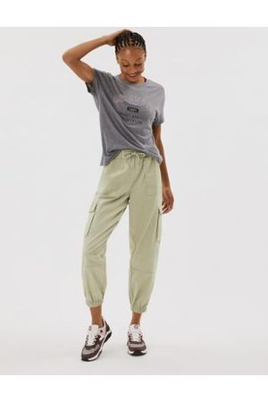 GOODMOVE Cotton Cargo Cuffed Relaxed Trousers