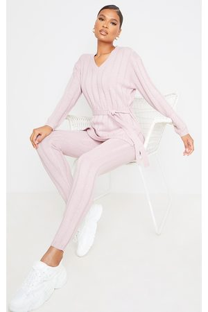 PrettyLittleThing Rose Belted Longline Sweater And Legging Lounge Set